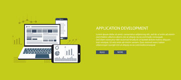 Application development. Flat vector design illustration concept for application development. Concept to building successful business royalty free illustration