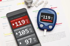 Application for diabetes on smartphone. Application for diabetes. Glucometer sends measure to smartphone Stock Photography