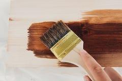 Application du vernis protecteur sur un dyi extérieur en bois image libre de droits