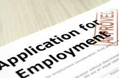 Application for Employment. Approved stamp corner of the shot in the job application form Royalty Free Stock Photography