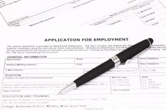 Application for employment. With pen Stock Photos