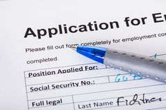 Application of employment Stock Image