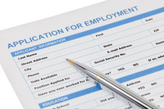 Application for employment form Stock Photo