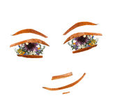 Application, face made of dried pressing bright flowers Royalty Free Stock Image