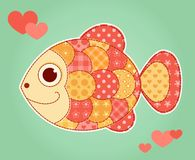 Application fish. Card. Children cartoon illustration Stock Photos