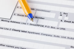 Application form with ballpoint pen Stock Image