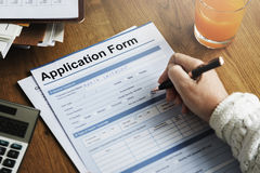Application Form Document Fill Writing Concept royalty free stock photos