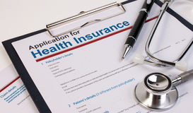Application form for health insurance. Stock Photography