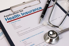 Application form for health insurance. Royalty Free Stock Photo