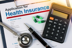Application form for health insurance. Stock Image
