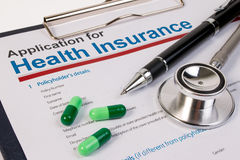 Application form for health insurance. Stock Photo