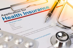 Application form for health insurance. Royalty Free Stock Image