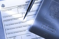Application form with passport Stock Photography