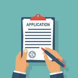Application form write. Application form. Man with clipboard in his hand fills in the form of employment. Write documents. Vector illustration in flat design royalty free illustration