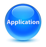 Application glassy cyan blue round button Stock Image