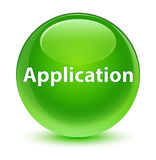 Application glassy green round button Stock Photography