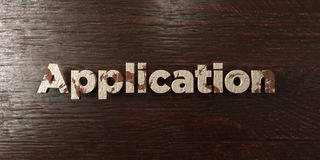 Application - grungy wooden headline on Maple  - 3D rendered royalty free stock image Royalty Free Stock Photos