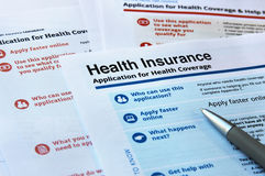Application for health coverage. Forms and application for health insurance Stock Images