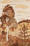 Application : horizontal avec un bouleau et un fourrure-arbre illustration de vecteur