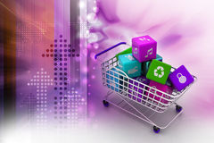 Application icon concept in trolley Royalty Free Stock Photos