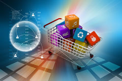 Application icon concept in trolley Royalty Free Stock Photography