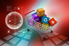 Application icon concept in trolley Stock Photography