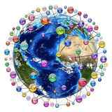 Application icons around the earth Royalty Free Stock Photography
