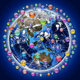 Application icons around the earth Stock Image