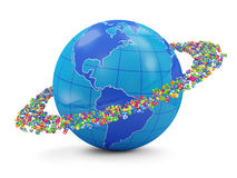 Application Icons around The Earth Globe Royalty Free Stock Photos