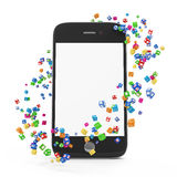 Application Icons around Touchscreen Smartphone. With Blank Screen on white background Royalty Free Stock Photo