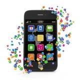 Application Icons around Touchscreen Smartphone Stock Photo