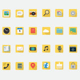 Application icons flat design in smart phone. And multimedia icons vector illustration Royalty Free Stock Photo