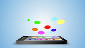 Application icons floating above black smartphone stock footage