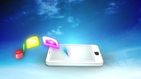 Application icons floating from white smartphone stock footage