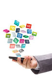 Application icons with mobile phone Stock Photo