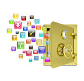 Application icons in the open safe Stock Image