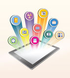 Application icons projected from tablet screen Stock Photo