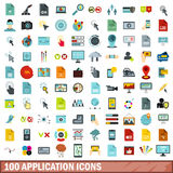 100 application icons set, flat style. 100 application icons set in flat style for any design vector illustration Royalty Free Stock Photos
