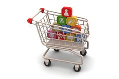 Application icons with shopping trolley Stock Photo