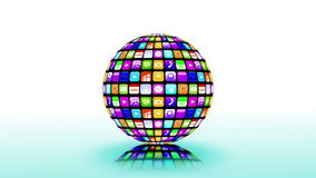 Application icons spinning in a sphere stock footage