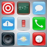 Application icons vector set 2. A set of realistic vector icons Stock Image