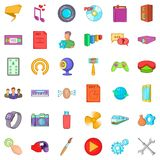 Application for mobile icons set, cartoon style. Application for mobile icons set. Cartoon style of 36 application for mobile vector icons for web isolated on Stock Images