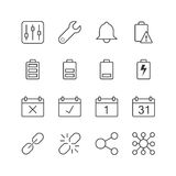Application Notification Icons - Vector illustration , Line icons set Royalty Free Stock Photos
