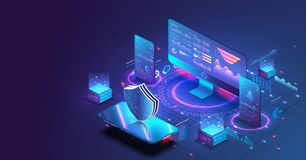 Free Application Of Pc And Smartphone With Business Graph And Analytics Data. Isometric Vector Illustration Of Digital Stock Photos - 173058003