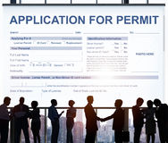 Application for Permit Form Authority Concept. Business People Application Permit Form Authority Stock Image