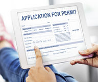 Application for Permit Form Authority Concept. People Scrolling Application for Permit Form Authority Digital Device Royalty Free Stock Photos