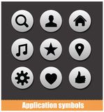 Application pictogram symbols set silver color Stock Photos