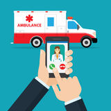 Application pour appeler l'ambulance illustration de vecteur