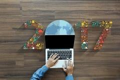 application réglée de technologie d'innovation d'affaires de nouvelle année 2017 Images stock