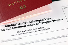 Application for Schengen visa and passport Royalty Free Stock Photos